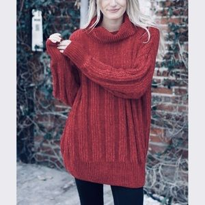 Sweaters - Chenille Loose fit cowl neck burgundy sweater